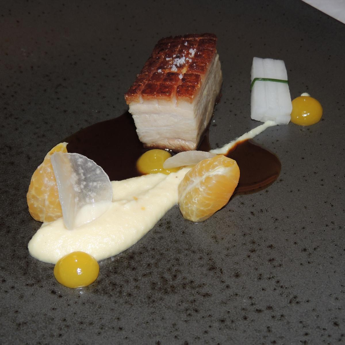 Duroc Schweinebauch | Rettich | Mandarine